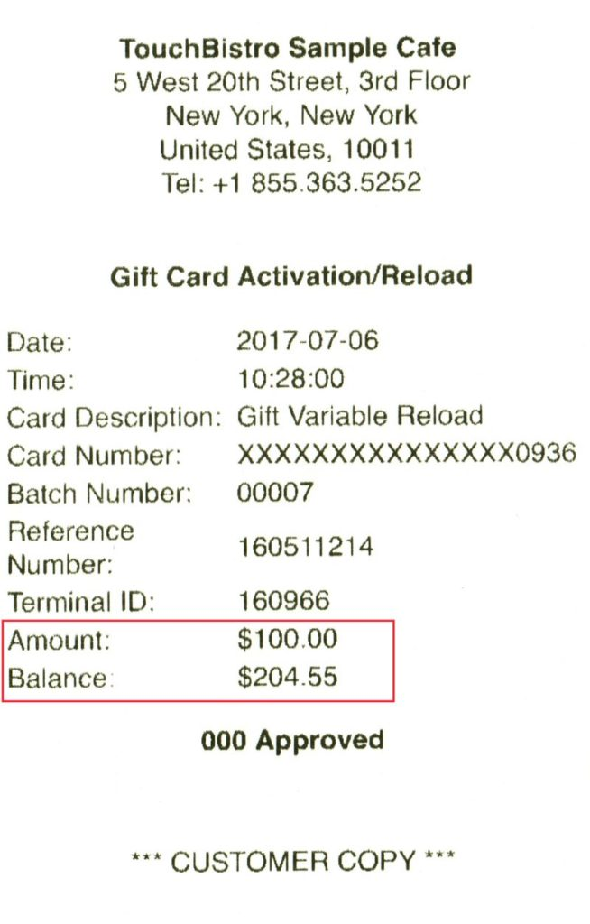 Processing a gift card with the ipp320 version 11 touchbistro touchbistro will print a customer and merchant copy of the balance updateactivation indicating both amount added to the card and the final balance negle Choice Image
