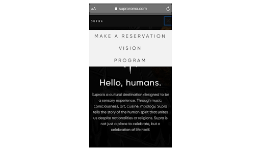 example of online reservation on a mobile website