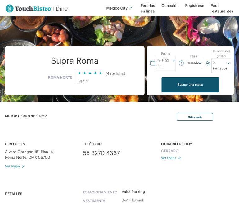 TouchBistro reservations