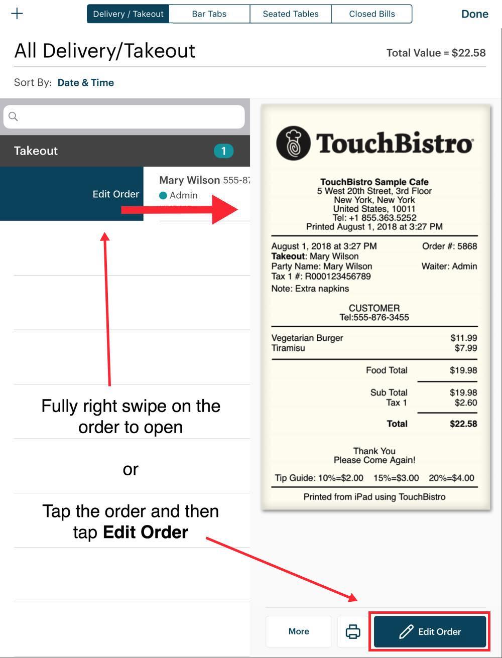 2bba0d140055 Working with Orders - TouchBistro